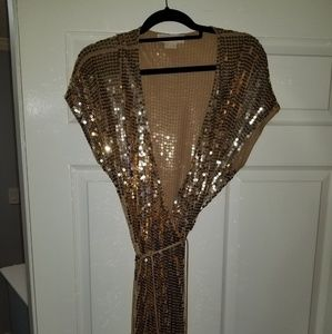 Michael Kors Gold Sequin Wrap Dress Size 2x